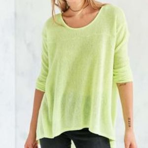 [NWT] Kimchi Blue Neon Yellow High-Low Sweater